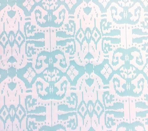 China Seas Fabric: Island Ikat - Custom Aqua ikat batik print on White 100% Trevira (Flame Resistant, Commercial Quality)