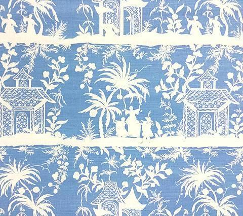 China Seas Fabric: Lyford Pagoda Petite - Custom French Blue chinoiserie asian print on White Belgian Linen/Cotton