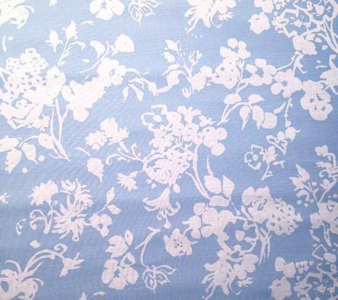 China Seas Fabric: Silhouette Reverse - Custom Blue on Tinted Belgian Linen/Cotton