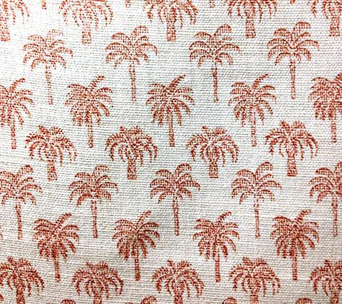 China Seas Fabric: Island Palms - Custom Apricot on Tinted Belgian Linen/Cotton