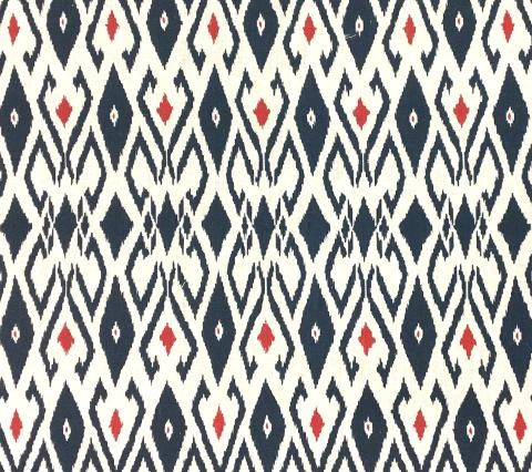 China Seas Fabric: Lockan - Custom Navy / Red on White 100% Belgian Linen for Clothing