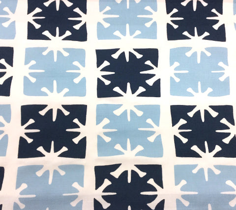 China Seas Fabric: Georgia Large Scale - Custom Sky Blue / Navy on White Belgian Linen/Cotton