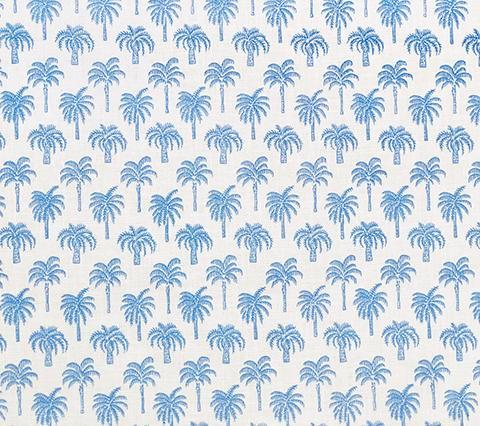 China Seas Fabric: New Island Palm - Pacific Blue on White 100% Belgian Linen