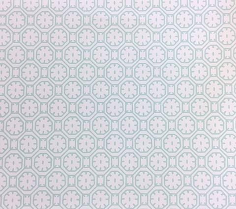 China Seas Wallpaper: Ceylon Batik - Custom Aqua on White Paper