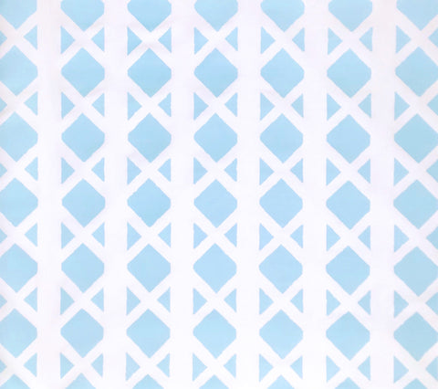 China Seas Fabric: Gazebo Blotch - Custom Turquoise on White Belgian Linen/Cotton