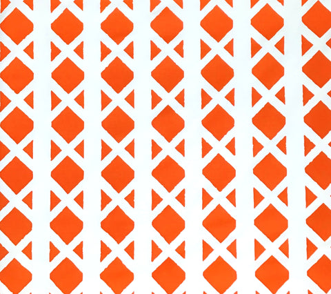 China Seas Fabric: Gazebo Blotch - Custom Rust Orange on White Belgian Linen/Cotton