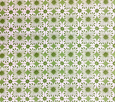China Seas Fabric: Barbados Batik - Custom Jungle Green / Lime on White Belgian Linen/Cotton
