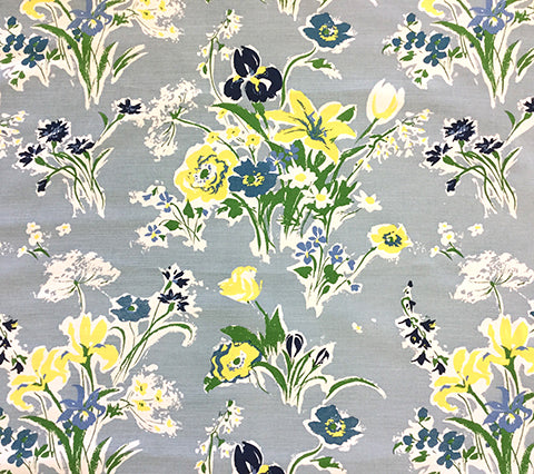 China Seas Fabric: Flowers II - Custom Multi Blues / Yellow on White Belgian Linen/Cotton