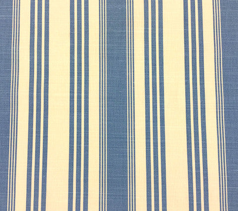 Quadrille Prints: Lane Stripe  - Custom French Blue on Tinted Belgian Linen/Cotton