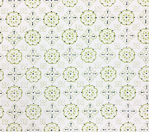 Quadrille Wallpaper: Crawford - Custom Green small geometric print on Almost White Paper