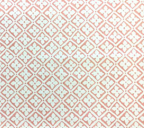 Quadrille Prints: Puccini - Custom Peach floral block print on White Belgian Linen/Cotton