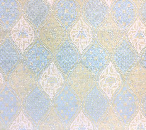 China Seas Fabric: Balinese Batik - Custom New Blue Cream indian paisley print on White Belgian Linen/Cotton