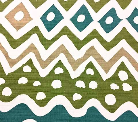 Alan Campbell Fabric: Cap Ferrat - Custom Blue Green Camel on White Belgian Linen Cotton