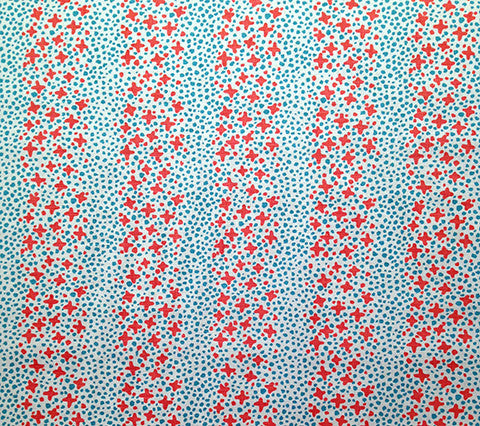 Alan Campbell Fabric: Jacks II - Custom Shrimp / Turquoise on Belgian Linen Cotton