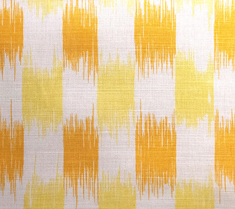 China Seas Fabric: II Blue Ikat - Custom Multi Yellows on Tinted Belgian Linen/Cotton