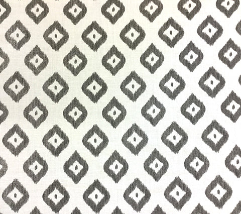 China Seas Fabric: Bali Diamond - Custom Gray on Oyster Belgian Linen/Cotton