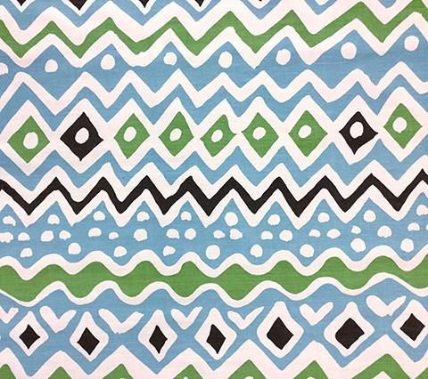 Alan Campbell Fabric: Cap Ferrat - Custom Turquoise / Green / Brown on White Belgian Linen/Cotton