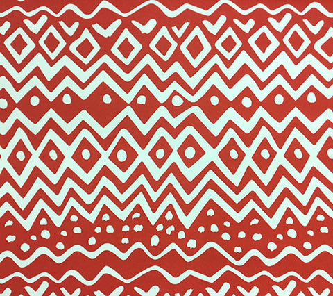 Alan Campbell Fabric: Deauville - Custom Red large scale geometric print on White Suncloth Sunbrella (Outdoor Quality)