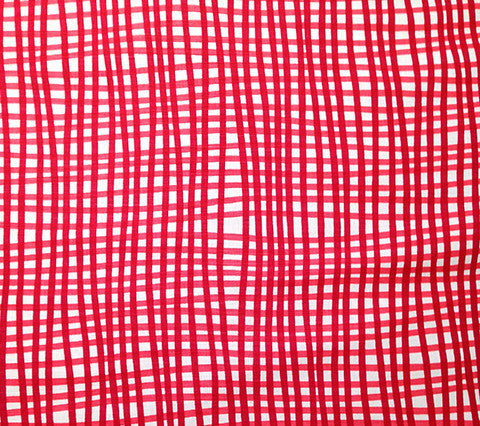 Alan Campbell Fabric: Country Check - Custom Light Red / Red on White