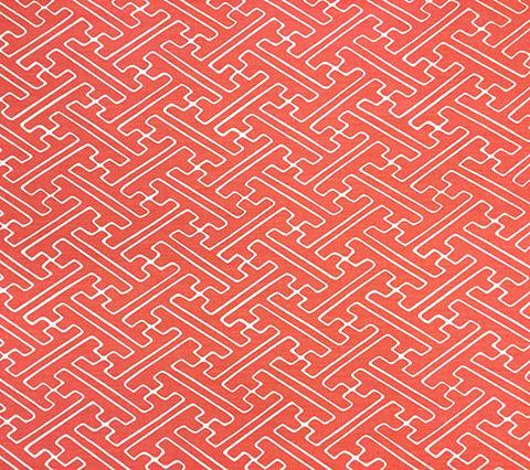 Alan Campbell Fabric: Saya Gata - Custom Watermelon geometric asian chinoiserie print on Tinted Belgian Linen/Cotton