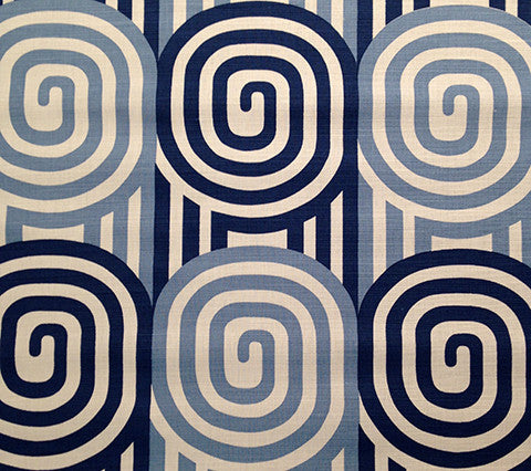 Alan Campbell Fabric: Wavelength - Custom Blues on White