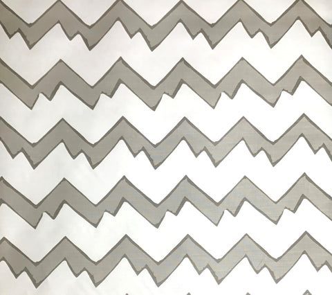 Alan Campbell Fabric: Montecito Zig Zag - Custom Grays on Tinted Belgian Linen/Cotton