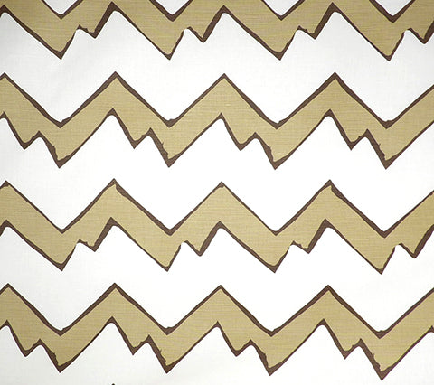 Alan Campbell Fabric: Montecito Zig Zag - Custom Mocha on Tinted Belgian Linen/Cotton