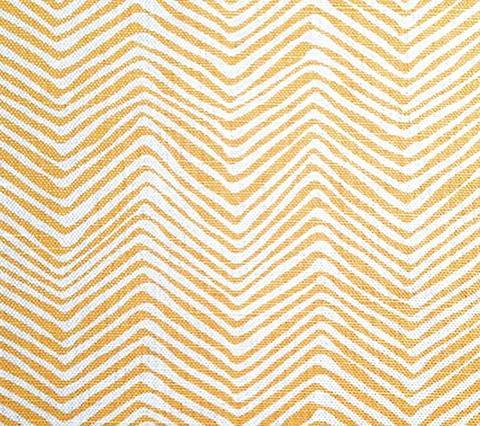 Alan Campbell Fabric: Petite Zig Zag - Custom Inca Gold on White Belgian Linen/Cotton