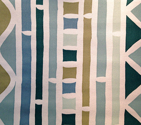 Alan Campbell Fabric: Antibes Multi Color - Custom Teal / Green on White Belgian Linen Cotton