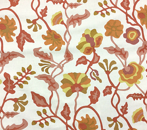Alan Campbell Fabric: Potalla - Custom Multi Salmon / Yellow on Tinted Belgian Linen/Cotton