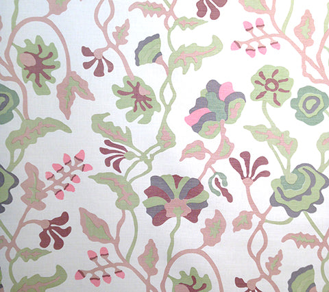 Alan Campbell Fabric: Potalla - Custom Pale Greens / Pinks on Belgian Linen/Cotton