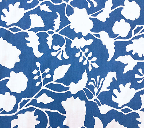 Alan Campbell Fabric: Potalla Background - Custom Royal Blue on White Belgian Linen/Cotton