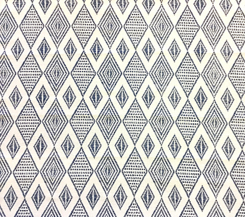 Alan Campbell Fabric: Safari Embroidery - Custom New Navy on Tinted Belgian Linen/Cotton