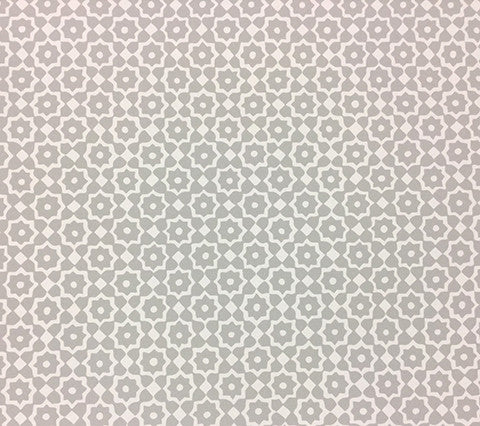 Alan Campbell Wallpaper Brenta Custom Gray on White Paper Geometric Floral