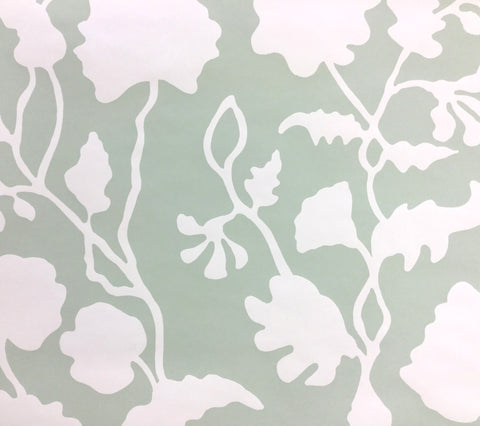 Alan Campbell Wallpaper: Potalla Background - Custom Soft Green on Off White Paper