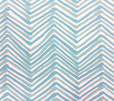 Alan Campbell Wallpaper: Zig Zag Multicolor - Custom Aqua / Light Turquoise on White Paper