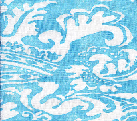 Quadrille Fabric: Bromonte Reverse - Custom New Blue on Tinted 100% Belgian Linen