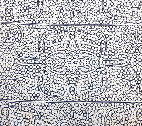 Cloth and Paper Fabric Persia - Custom Navy bohemian print on White Suncloth Sunbrella Outdoor Quality fabric