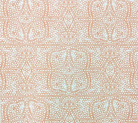 Home Couture Wallpaper: Persia - Custom Orange on Almost White Matte Vinyl