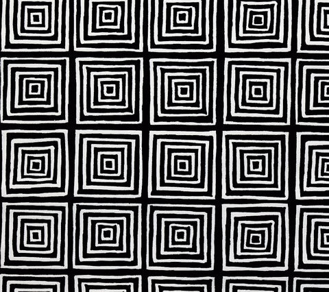 China Seas Fabric: Ziggurat Reverse - Black on White Belgian Linen/Cotton