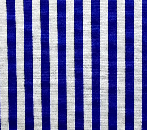China Seas Fabric Ann's Stripe Imperial Royal Blue On White Belgian Linen Cotton