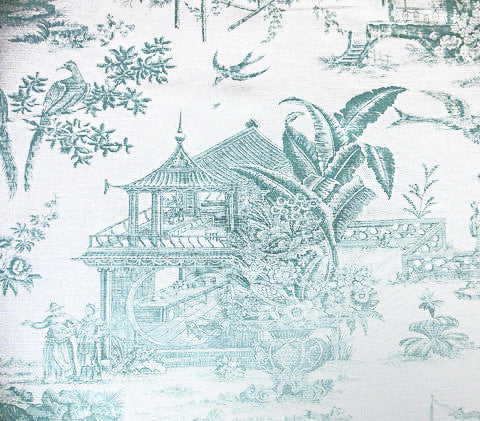 Quadrille Prints: Paradise Garden Engraving Custom Pale Aqua toile chinoiserie asian floral print on White Belgian Linen/Cotton fabric