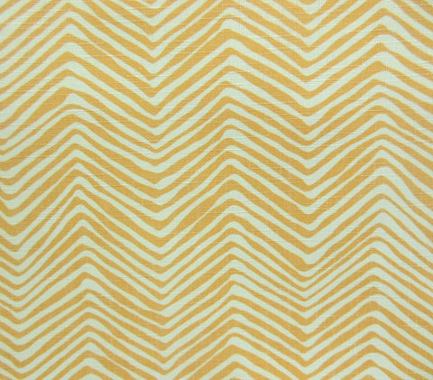 Alan Campbell Fabric Petite Zig Zag Custom Inca Gold on Tinted Flame Resistant Commercial Quality Trevira