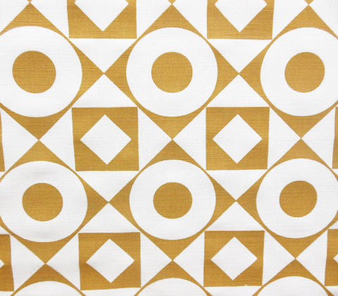 Home Couture Fabric: Circles & Squares Reverse - Custom Mustard on White Belgian Linen/Cotton
