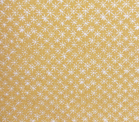 China Seas Fabric Balinese Star Custom Morning Shine Gold Yellow Cream on White Belgian Linen Cotton