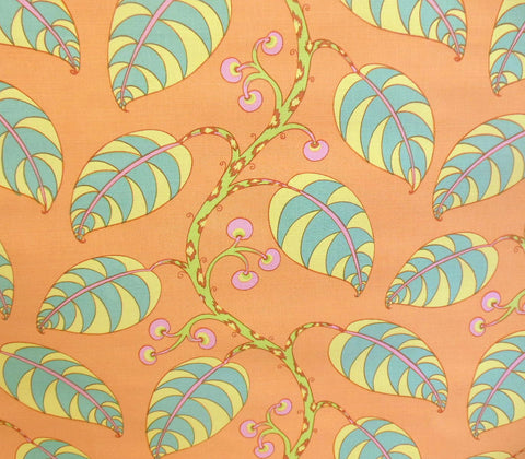 China Seas Fabric: Calypso Multi - Turquoise / Pink / Yellow / Peach on Belgian Linen/Cotton