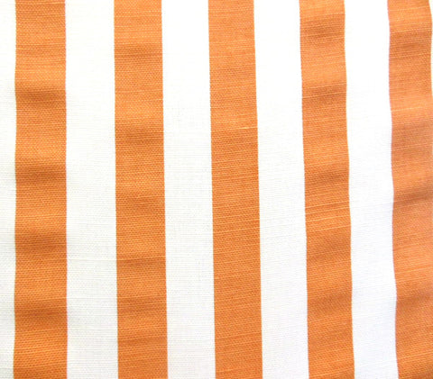 China Seas Fabric Dune Custom Terracotta Orange stripes on White Belgian Linen Cotton