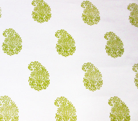 China Seas Fabric: Bangalore Paisley - Custom New Green on White Suncloth (Indoor/Outdoor Quality)