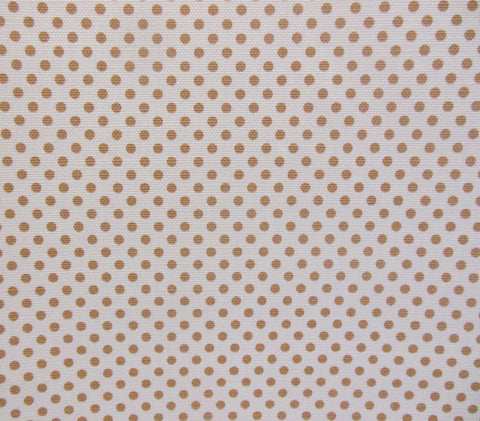 China Seas Fabric Hampton Custom Tan polka dot print on Tinted Belgian Linen Cotton