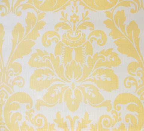 Quadrille Prints: Monty Custom Yellow floral damask fortuny print on Tinted 100% Belgian Linen fabric